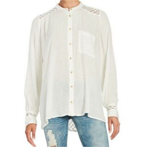 Free People embroidered tunic button up LS white